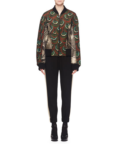 Vilana Zip-Front Jacquard Bomber Jacket w/ Contrast Back and Matching Items