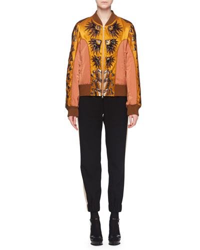 Fil-Coupe Embroidered Fitted Bomber Jacket and Matching Items