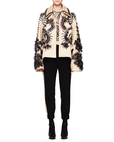 Raffia Embroidered Wool-Blend Jacket and Matching Items
