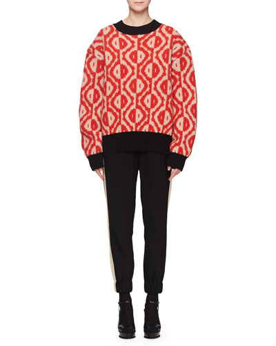 Crewneck Spot-Print Wool-Cashmere Sweater and Matching Items