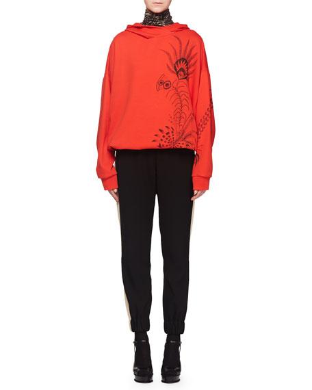 Hooded Feather-Print Pullover Sweatshirt w/ Drawstring Hem