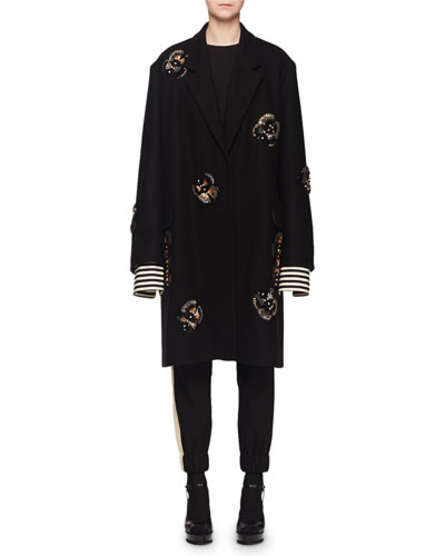 Single-Breasted Embellished Wool-Blend Coat and Matching Items