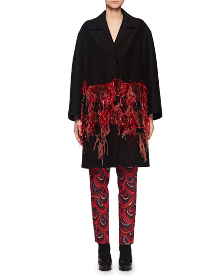 Ruperty Men-Style Single-Breasted Wool-Blend Caban Coat w/ Raffia Yarn