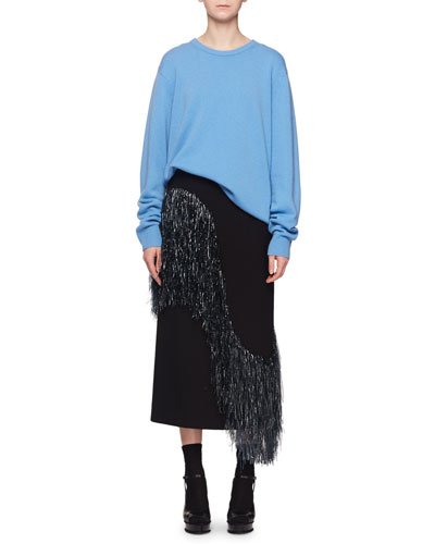 Crewneck Long-Sleeve Cashmere Oversize Pullover Sweater and Matching Items