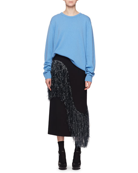 Crewneck Long-Sleeve Cashmere Oversize Pullover Sweater