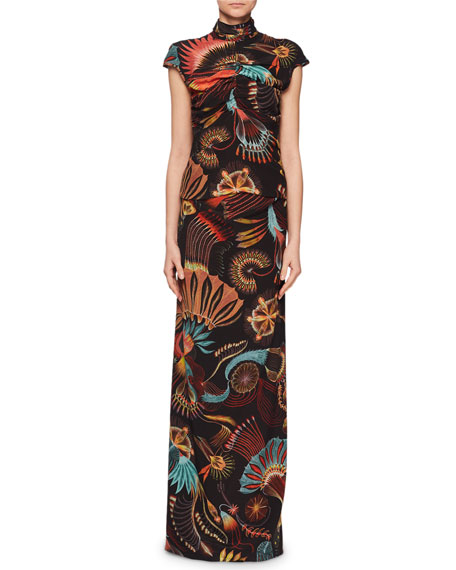 Mock-Neck Cap-Sleeve Ruched Multi-Print Top