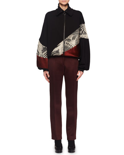 Hendix Zip-Front Embroidered Colorblock Bomber Jacket and Matching Items
