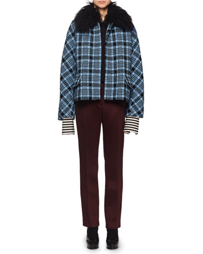 Heavy-Knit Check Wool-Blend Short Jacket w/ Faux-Fur Collar and Matching Items