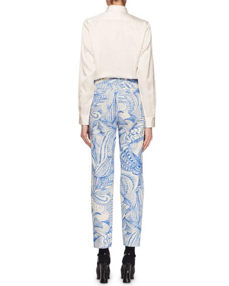 Raffia Button-Front Long-Sleeve Blouse