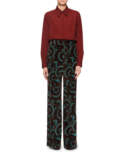 Panter Abstract Floral-Print Velvet Straight-Leg Pants and Matching Items