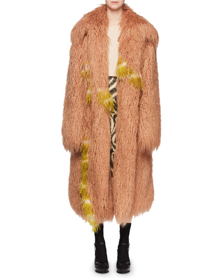 Rotadi Faux-Fur Chubby Caban Coat w/ Ostrich Feathers