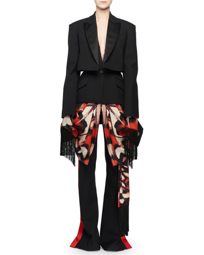 Scarf-Draping Fringe-Hem Trompe-l'oeil Layered Tuxedo Jacket  and Matching Items