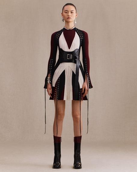 Crewneck Long-Sleeve Lacing Knit Dress