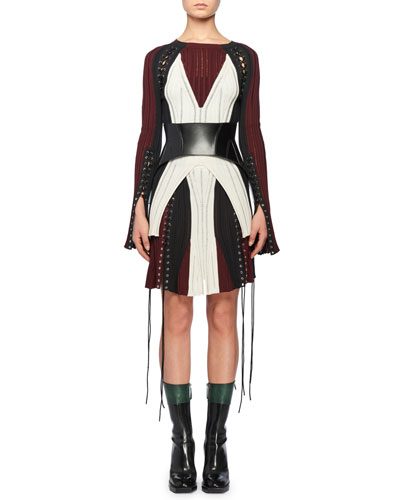 Crewneck Long-Sleeve Lacing Knit Dress and Matching Items