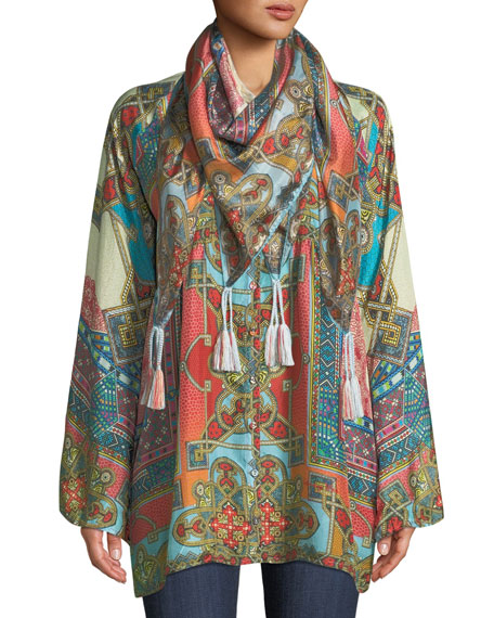 Afterglow Button-Front Silk Tunic