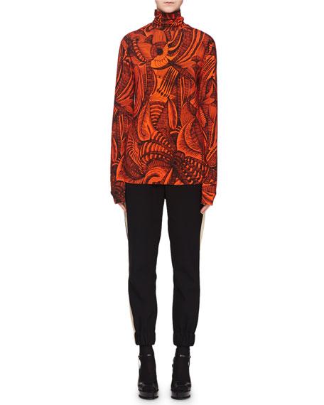 Turtleneck Long-Sleeve Scribble-Print Sweater