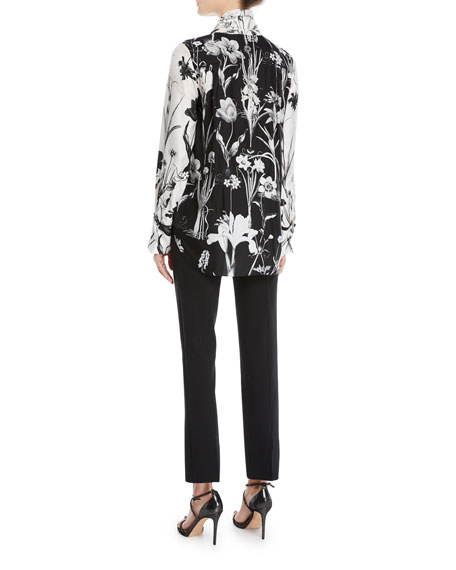 Tie-Neck Button-Front Long-Sleeve Floral-Print Two-Tone Silk Blouse