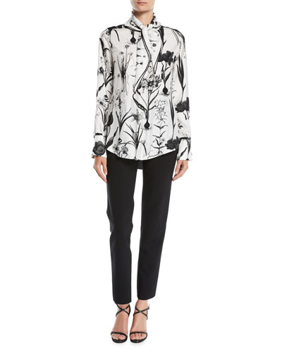 Tie-Neck Button-Front Long-Sleeve Floral-Print Two-Tone Silk Blouse and Matching Items