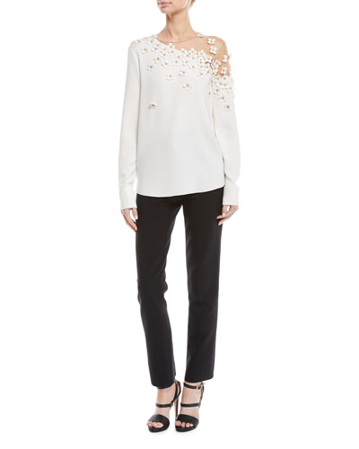 Illusion-Neck Long-Sleeve Floral-Applique Silk Blouse and Matching Items
