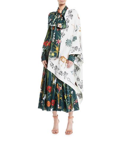 Tie-Neck Button-Front Long-Sleeve Garden-Print Long Silk Dress and Matching Items