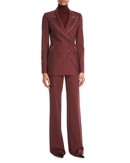 Angela Double-Breasted Sportswear Wool Blazer w/ Contrast Topstitching