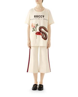 f391d7d32 Gucci Short-Sleeve Guccy-Logo Maison De L Amour T-Shirt Washed