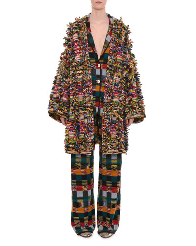 Two-Button Allover Patchwork Wool Jacket and Matching Items