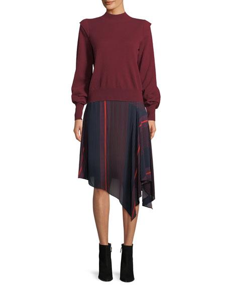 Atilla Bishop-Sleeve Wool-Cashmere Sweater