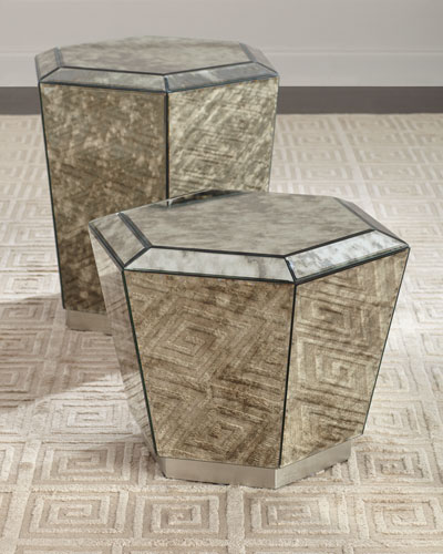 Marcell Antiqued Mirrored End Table  and Matching Items