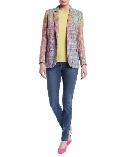 Notched-Lapels One-Button Multicolor Tweed Jacket  and Matching Items