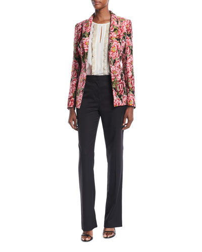 One-Button Floral-Jacquard Tailored Jacket  and Matching Items