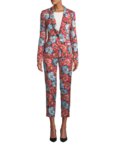 One-Button Notched-Lapels Floral-Jacquard Jacket and Matching Items
