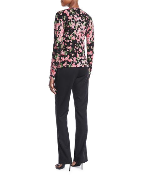 Round-Neck Cap-Sleeve Floral-Print Top