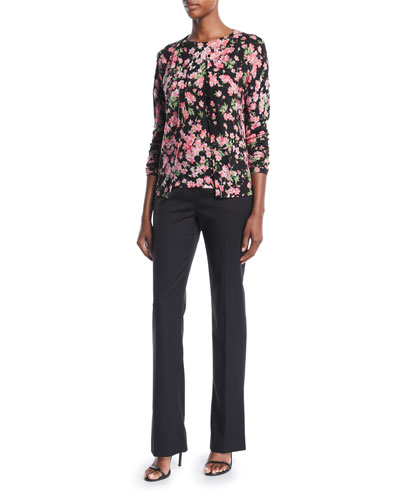 Round-Neck Cap-Sleeve Floral-Print Top and Matching Items