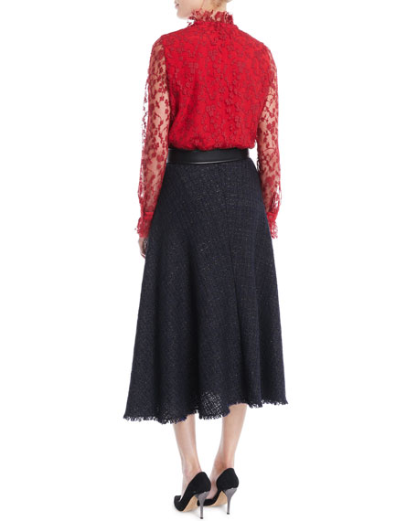 Tie-Neck Long-Sleeve Lace Blouse
