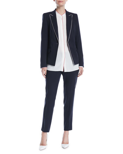 One-Button Wool-Blend Jacket w/ Contrast Piping  and Matching Items