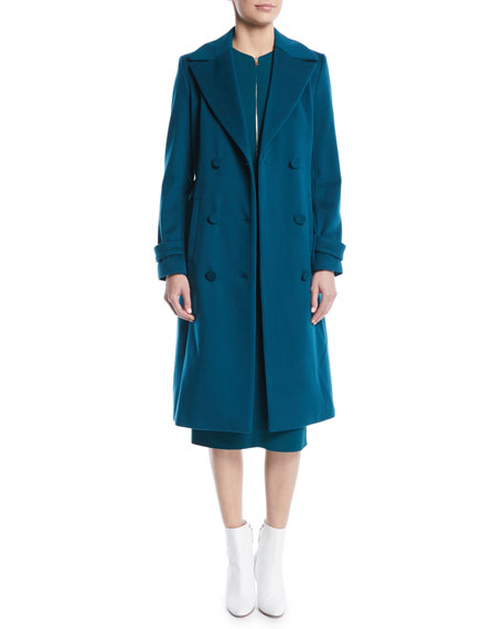 Double-Breasted Self-Belt Wool Coat w/ Piping