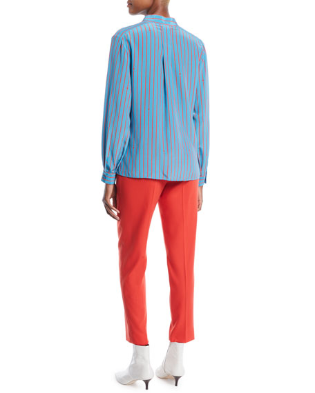 Button-Front Long-Sleeve Striped Silk Blouse