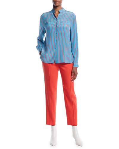 Button-Front Long-Sleeve Striped Silk Blouse and Matching Items
