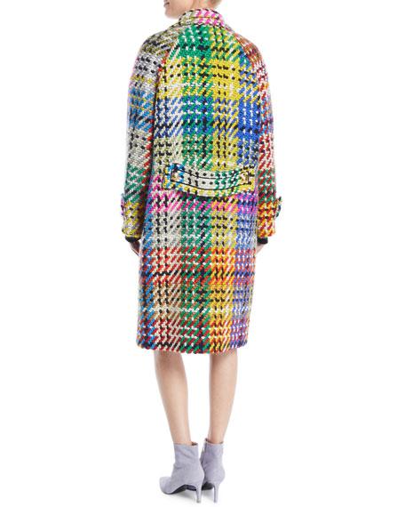 Button-Front Multicolor Blanket-Weave Coat w/ Golden Snaps