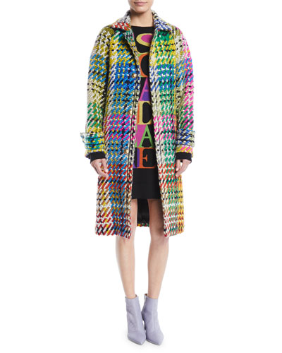 Button-Front Multicolor Blanket-Weave Coat w/ Golden Snaps and Matching Items