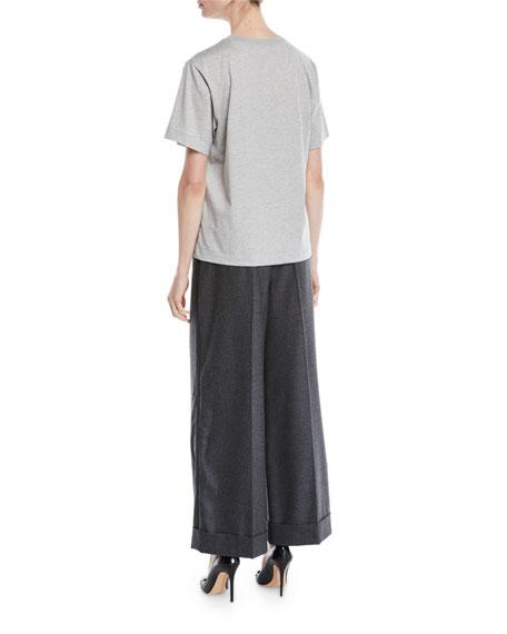 Encrusted-Jewel Logo Crewneck Short-Sleeve Cotton T-Shirt