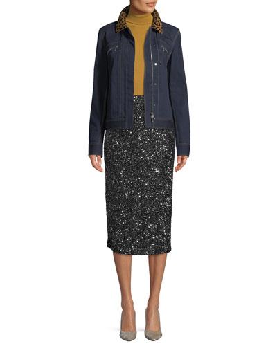 Kesha Denim Jacket w/ Leopard Collar and Matching Items