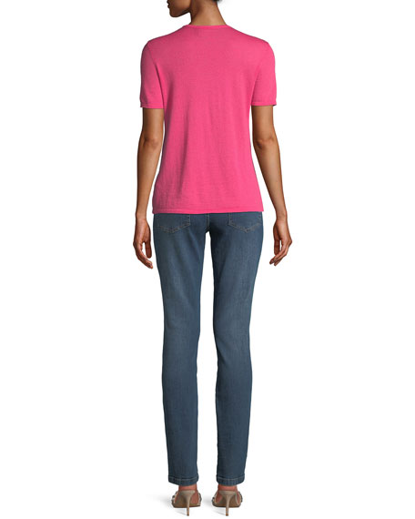 Round-Neck Short-Sleeve Heart-Pointelle Cashmere Pullover Top