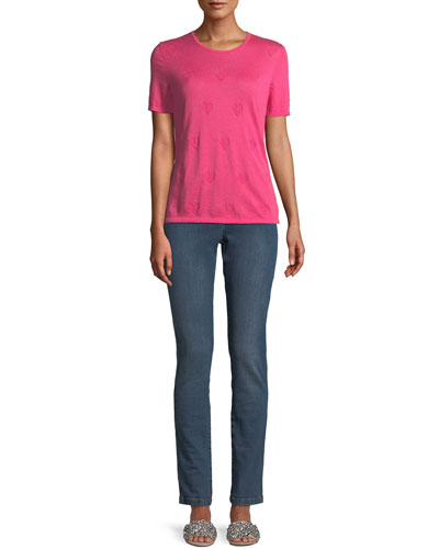 Round-Neck Short-Sleeve Heart-Pointelle Cashmere Pullover Top and Matching Items