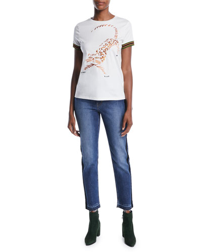 Crewneck Short-Sleeve Tiger-Embroidered Cotton Tee w/ Striped Knit  and Matching Items