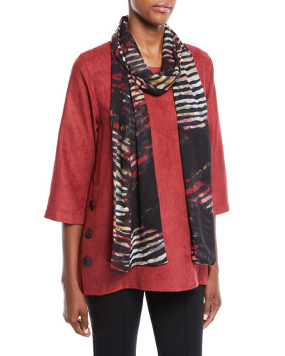 Modern Sueded Fabric Tunic with Button Detail, Plus Size and Matching Items