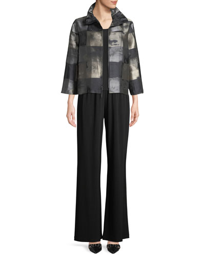 Squaring Off Zip-Front Graphic Jacquard Crop Jacket  and Matching Items