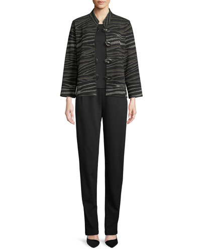 Howl At The Moon Mandarin-Collar Easy-Fit Textured Metallic Knit Jacket and Matching Items