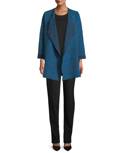 Free-Flowing Full-Sleeve Tweed Saturday Topper Jacket, Plus Size and Matching Items